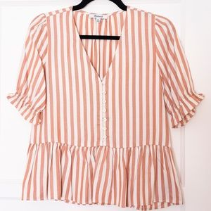 Madewell Stripes Buttoned Ruched Sleeve Blouse